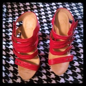 GX by Gwen Stefani Arisu Red Wedge Sandals 6.5